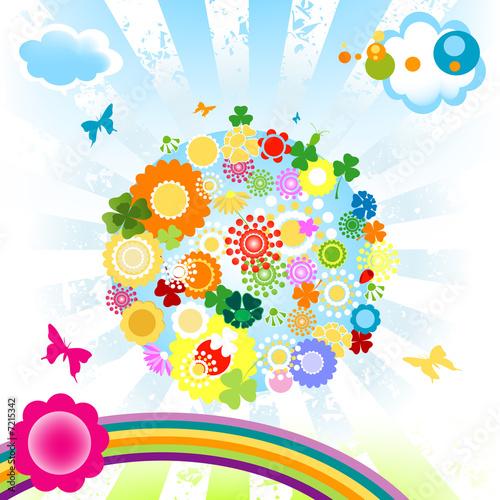 In de dag Regenboog happy world