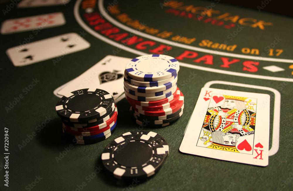 Leinwandbild Motiv - kalligra : Casino BlackJack