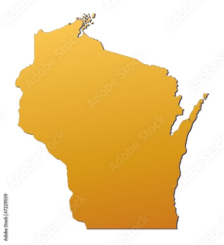 Wisconsin (USA) map filled with orange gradient - Buy this stock ...