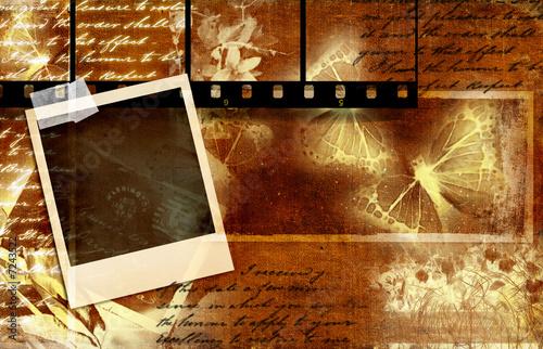 Foto auf Leinwand Schmetterlinge im Grunge romatic retro bakground with polaroid and filmstrip