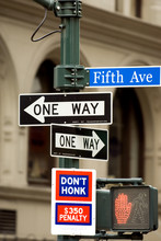 Fifth Avenue Sign In Pedestria...