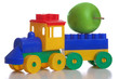 toy plastic train, white background