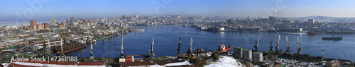 Aluminium Prints Dark grey Vladivostok, panarama of Golden Horn Bay