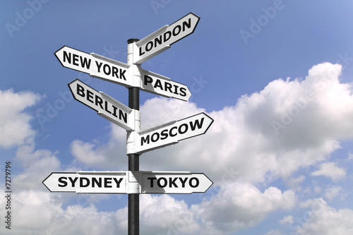 Fotomural Business Capitals signpost