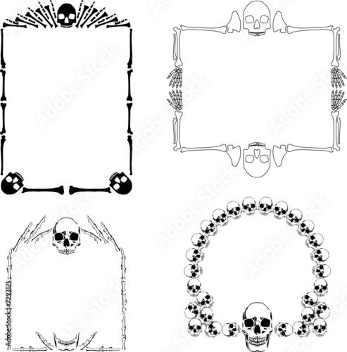 Four Vector Decorative Borders Made Of Bones And Skulls