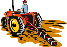 Tractor Plowing The Farm