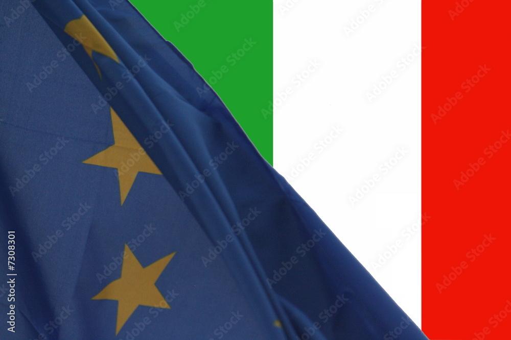 Fotografia Bandiera Europea Italiana Su Europosters It