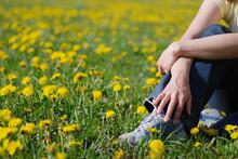 Torso Of Woman Sitting In Dandelions