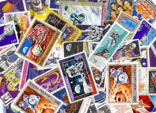Deurstickers Nasa collection of vintage space stamps from different countries