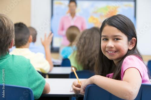 Fotografía  Elementary pupil in class