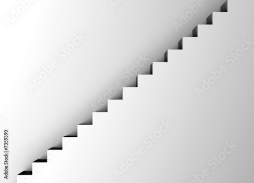 Fotomural white staircase - minimalism