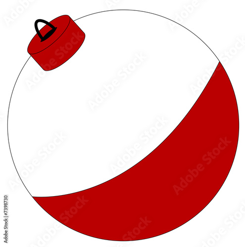 red and white fishing bobber isolated on white Tablou Canvas