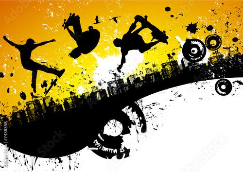 Fotografie, Obraz  Skateboard city background