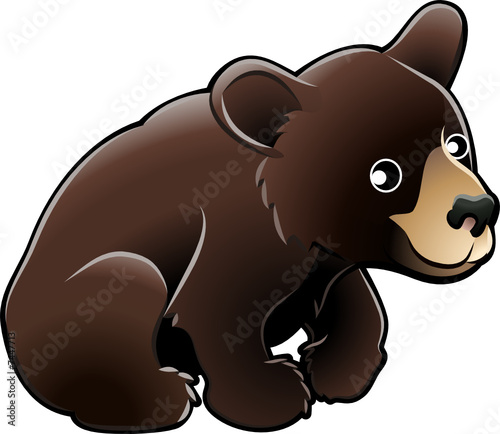 Wall Murals For Kids American Black Bear Cute Vector Illustration