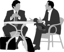 Two Gentlemen Sitting   At Coffee Table