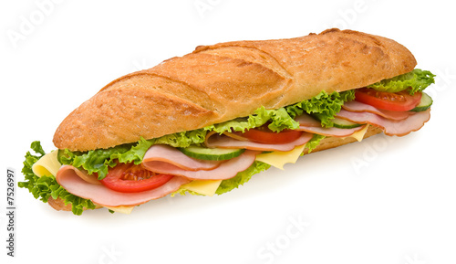 Foto op Canvas Snack Footlong ham & swiss submarine sandwich isolated on white