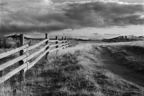 wyoming landscape rural fence in black and white