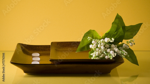 Wall Murals Two flat ceramic dishes with lily of the valley