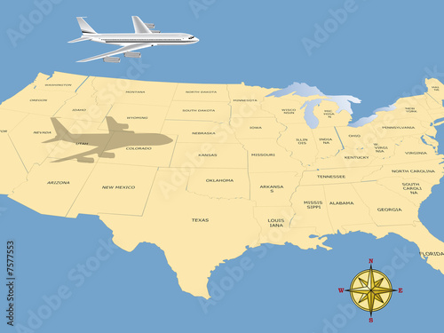 Map Of Planes In Air Over Us Travel conceptual illustration: a plane flying over USA map   Buy