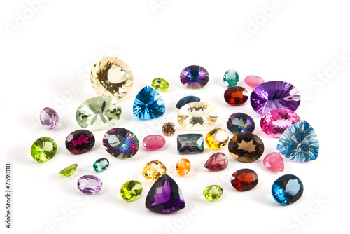A grouping of faceted gemstones