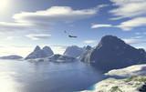 Lago glaciale con aquila in volo - 7603316