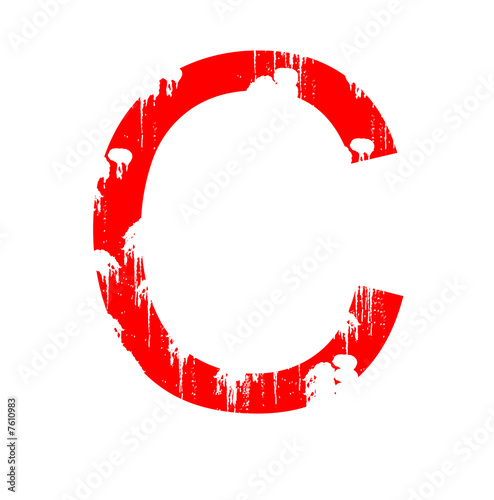 Photo Letter C in grunge style on a white background.
