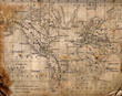 canvas print picture - Ancient map of the world.