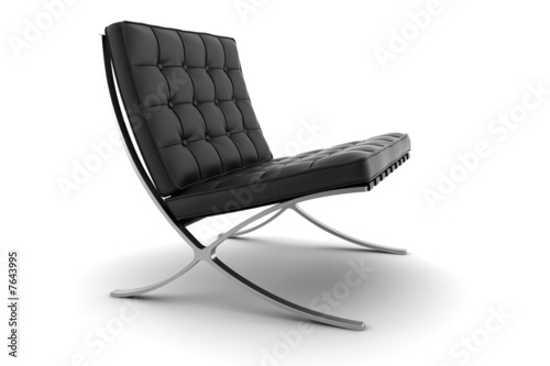 Fotografie, Obraz  3d black armchair isolated on white background