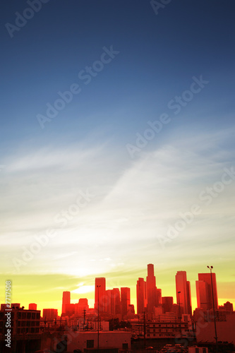 Etiqueta engomada - Downtown Los Angeles at sunset