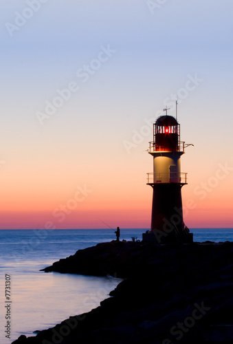 Foto-Kassettenrollo premium - lighthouse after sunset