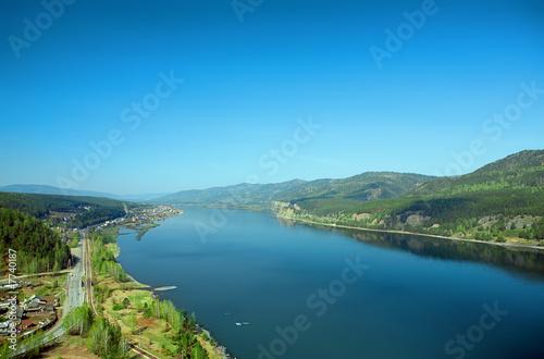 Fototapeta river and hill landscape obraz