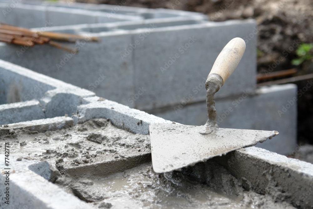 Fototapeta Foundation wall construction