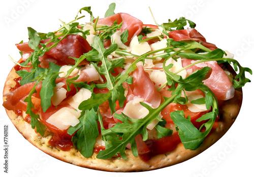 Fotografie, Obraz  Pizza,parmesan,rukola,bacon
