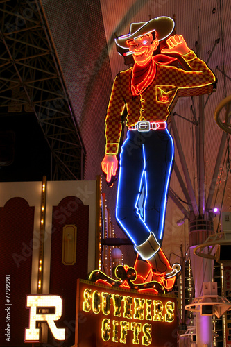 Deurstickers Las Vegas Cowboy Neon Sign in Las Vegas, USA