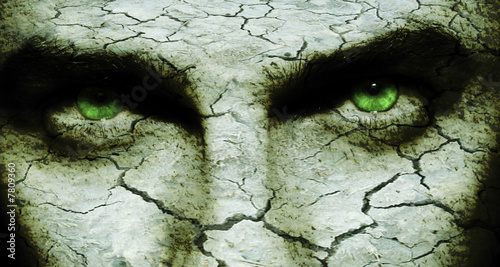 Dry face skin and evil eyes closeup #7809360