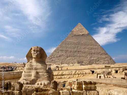 Foto-Kassettenrollo premium - Sphinx and the Great pyramid in Egypt