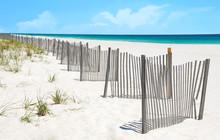 Sand Dune Fence On Pretty Beach