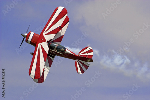 Red white biplane Wallpaper Mural