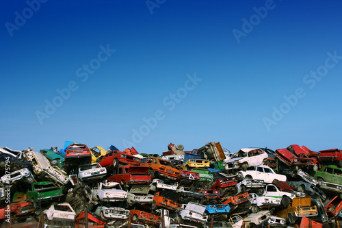 Photo Pile of used cars in junkyard, ready for salvage