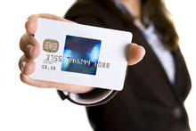 Businesswoman Showing Visa Credit Card