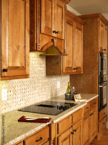 Luxury Model Home Honey Kitchen Cabinets - Buy this stock ...