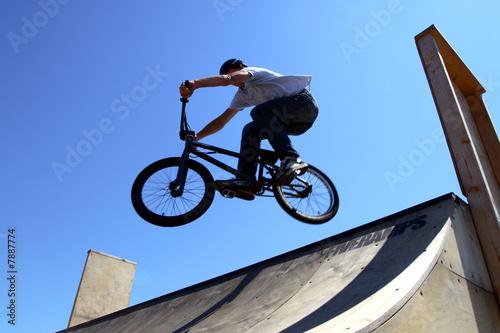 bike acrobat during jumping