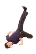 breakdancer in dark clothes