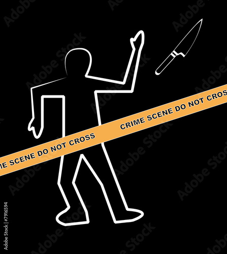 body with crime scene and knife as the weapon - Buy this stock