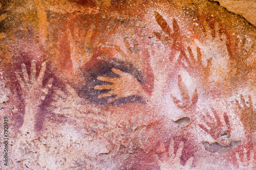Fotografia Ancient cave paintings in Patagonia, southern Argentina.
