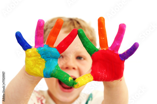 Pinturas sobre lienzo  Happy child with painted hands