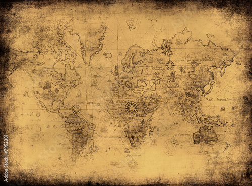 Fotobehang Wereldkaart ancient map of the world.