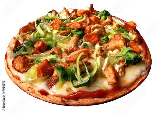 Fotografie, Obraz  Pizza, lauch, pilzen, champignons, chiken