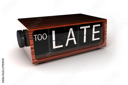 Fotografie, Obraz  Too late - conceptual alarm clock showing that you are too late