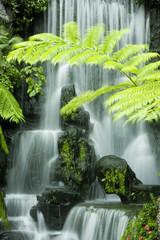 Japanese garden waterfalls, slow shutter.